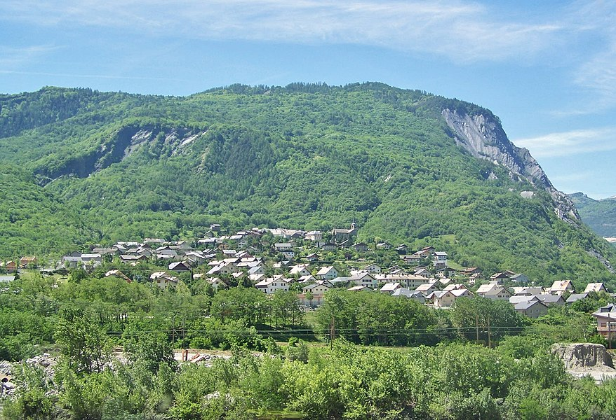 Sight of French village of Villargondran near Saint-Jean-de-Maurienne in the Maurienne valley, in Savoie.