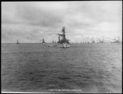 Virginia (BB13). Fleet in San Francisco Harbor, Virginia bow on, 1908 - NARA - 512999