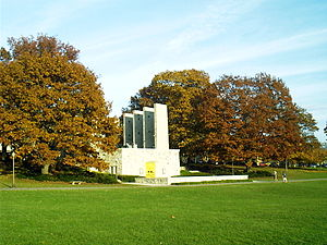 Virginia Tech's War Memorial Chapel in an autu...