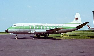 Iraqi Airways - Iraqi Airways Vickers Viscount 735 at East Midlands Airport in 1978