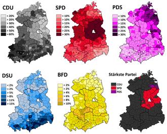 East German general election, 1990 - Image: Volkskammerwahl 1990 Parteiergebnisse in den Kreisen