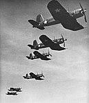 Vought F4U-1 Corsairs of VF-17 in flight, 1943.jpg