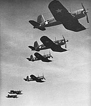 Vought F4U-1 Corsairs of VF-17 in flight, 1943