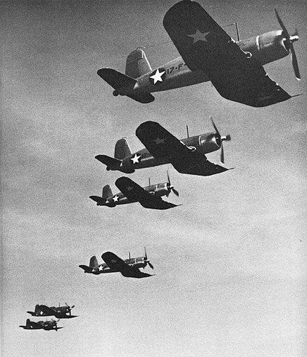 Chance-Vought F4U Corsair, 1943 Vought F4U-1 Corsairs of VF-17 in flight, 1943.jpg
