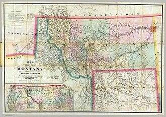 Montana Territory - Image: W de Lacy Map Montana 1872
