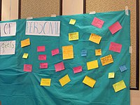 Wall of personal goals at Wikimania 2018 learning days 10.jpg