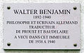 Walter Benjamin - Plaque commémorative 10 rue Dombasle, 75015 Paris, France.jpg