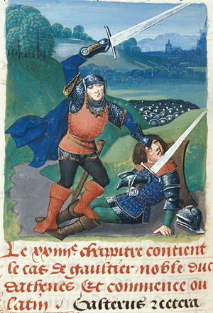Royal manuscripts, British Library - The death of Walter VI, Count of Brienne from one of Edward IV's histories, Royal 14 E v f.499v
