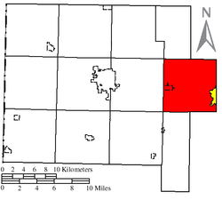 Location of Washington Township (red) in Van Wert County, next to the city of Delphos (yellow)