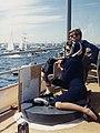 Watching the America's Cup Race. Mrs. Kennedy, President Kennedy. Off Newport, RI, aboard the USS Joseph P. Kennedy, Jr.jpg