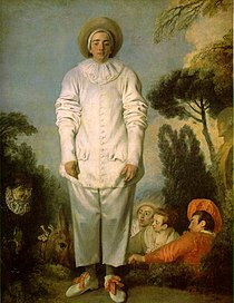 """Watteau's commedia dell'arte player of Pierrot, ca 1718-19, traditionally identified as """"Gilles"""" (Louvre)"""