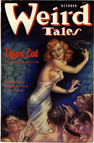 """David H. Keller - Keller's """"Tiger Cat"""" was the cover story in the October 1937 Weird Tales"""