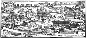 Stein Castle (Bavaria) - Copperplate by Michael Wening in Topographia Bavariae around 1700
