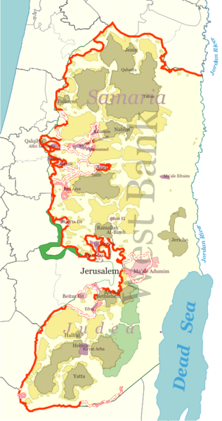 Revised version of the West Bank barrier, as of 2006 (wikipedia)