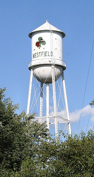 Westfield, Indiana - Westfield water tower. This tower was torn down and replaced with another, newer tower outside of downtown.