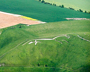 White horse (mythology) - The 3,000-year-old Uffington White Horse hill figure in England.