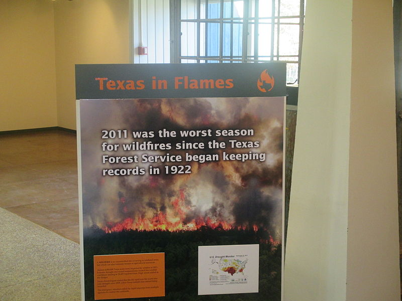 Wildfires placard, Texas Forestry Museum in Lufkin IMG 8593.JPG