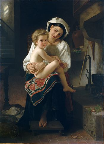 William Bouguereau : Jeune mère observant son enfant.