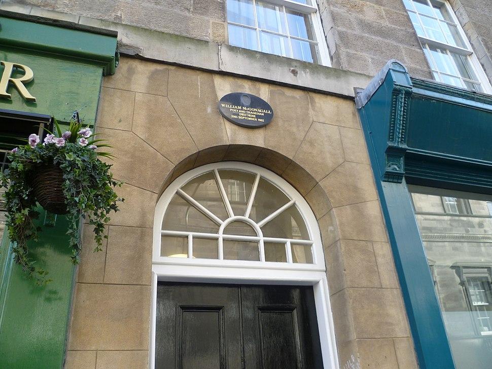 William McGonagall plaque, South College Street, Edinburgh