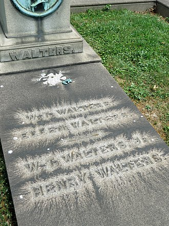Henry Walters - Image: William Thompson Walters Gravestone Detail