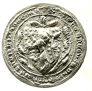 William de Braose, 2nd Baron Braose - Seal of William de Braose, 2nd Baron Braose, appended to the Barons' Letter, 1301, showing arms of Braose on an escutcheon: Azure semy of crosses-crosslet and a lion rampant or .