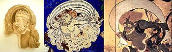 Iconographical evolution of the Wind God. Left: Greek Wind God from Hadda, 2nd century. Middle: Wind God from Kizil, Tarim Basin, 7th century. Right: Japanese Wind God Fujin, 17th century.