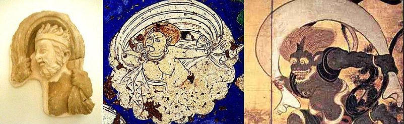 Iconographical evolution of the Wind God.<br /> Left: Greek wind god from Hadda, 2nd century.<br /> Middle: wind god from Kizil, Tarim Basin, 7th century.<br /> Right: Japanese wind god Fujin, 17th century.