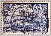 Francobollo dell'Africa Tedesca del Sud-Ovest col timbro postale di Windhuk