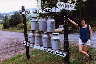 Woman with display at Milk Can Corners, Hallstead, Pennsylvania, 1991.jpg