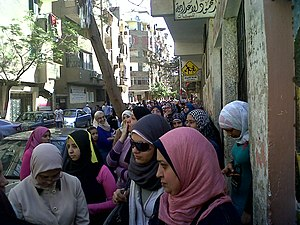 Egyptian constitutional referendum, 2011 - Women standing in line to vote on the 2011 Egyptian constitutional referendum