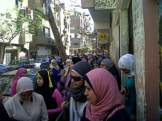 Egyptian constitutional referendum, 2011 - Women standing in line to vote on the 2011 Egyptian constitutional referendum