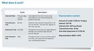 Wonga.com - Screenshot from Wonga.com, 3 February 2014, showing the costs of a loan.