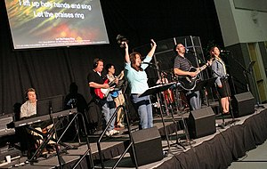 Contemporary worship music - A modern worship band playing a contemporary praise song.