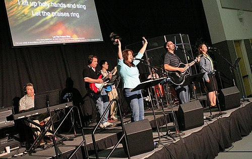 A modern Protestant worship band leading a contemporary worship session Worship-team.jpg