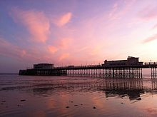 Worthing Pier at sunset, low tide.JPG