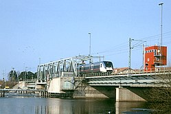 X50 train crossing the Kvicksund bridge