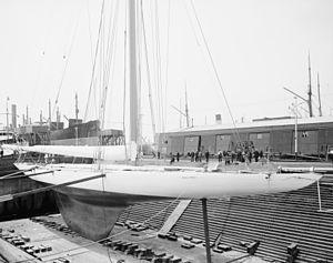 Reliance (yacht) - Reliance in drydock