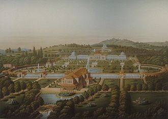 Wilhelma - View of Wilhelma circa 1855. The Moorish villa and lakes are clearly visible