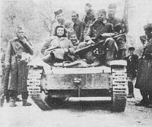 Case White - Partisans of the Main Operational Group on the tank captured from the Italians in late February 1943.