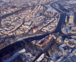 Aerial view in winter