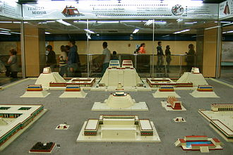 Mexico City Metro - Model of the Templo Mayor of Aztec Tenochtitlan displayed at Zócalo station. Such displays in some stations are an opportunity to educate Metro riders about the city's history.
