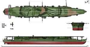 Japanese aircraft carrier Zuihō - Three-way view of Zuihō