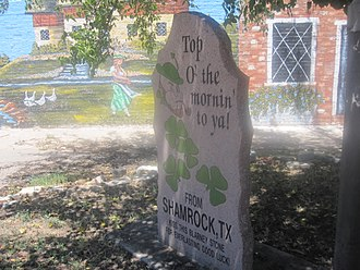"Shamrock, Texas - ""Top O' the Mornin' to Ya'"" slogan in Shamrock, Texas, which hosts an annual St. Patrick's Day observance"