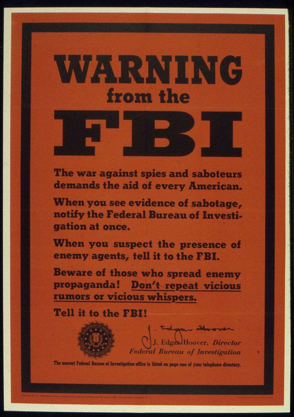 """WARNING FROM THE FBI"" - NARA - 516039"