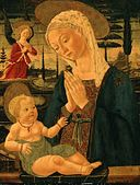 'Virgin and Child with an Angel' - Bernardo di Stefano Rosselli or Master of the Via Romana Lunette.jpg