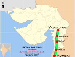 (Vadodara - Mumbai central) Express route map