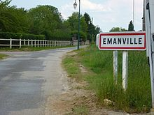 Émanville (Eure, fr) city limit sign.JPG