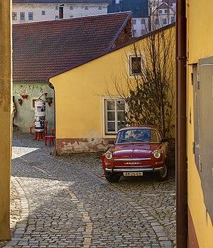 Old Škoda in street in Český Krumlov