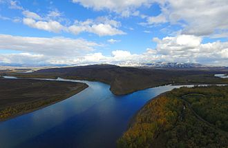 Yenisei River - The confluence of the rivers Kaa-Khem and Piy-Khem from the height of bird flight