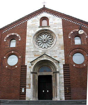 San Giovanni in Conca - Rebuilt façade of San Giovanni in Conca in the modern Waldensian church of Milan.